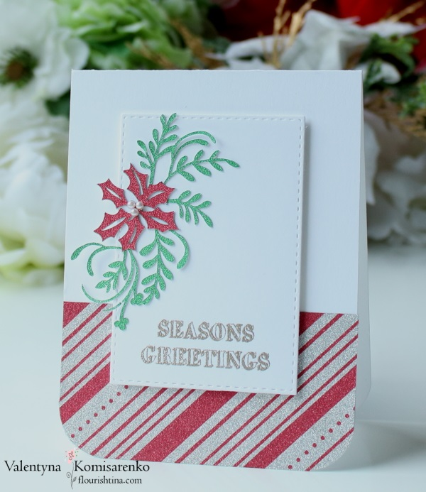 Red, Green and Glitter card, Cricut Explore, HLS Mixed Christmas Sentiment