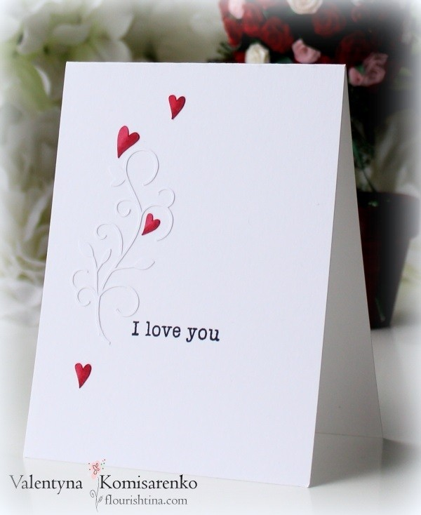 CAS Valentine's Card, Silhouette Flourish with Tiny Hearts