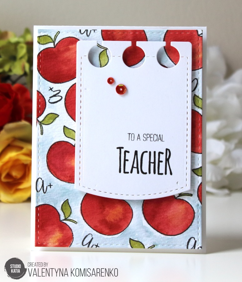 Studio Katia Teacher's Apple stamp set, Stitched Notebook dies, #flourishtina.com