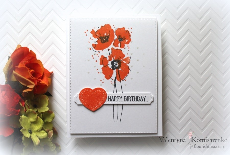 Beautiful orange poppies on the white - perfect for the birthday  card.