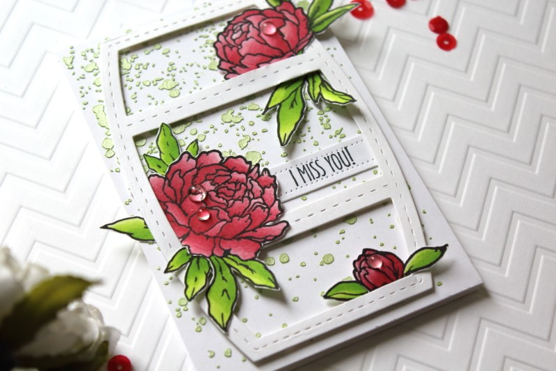 Flourishtina: Studio Katia Peonies stamp set colored with Chameleons