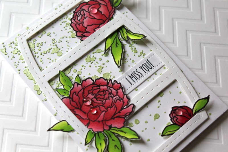 Studio Katia Peonies stamp set colored with Chameleons by Flourishtina