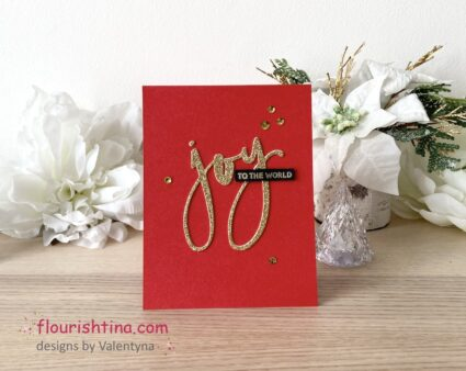 red, gold and sentiment card